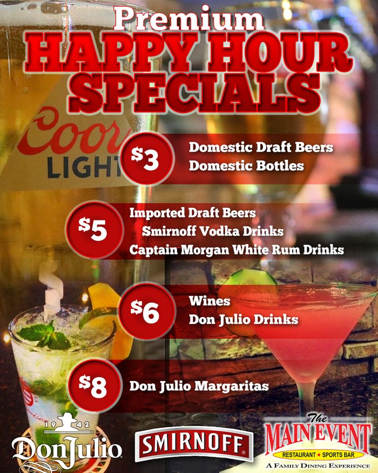 Happy Hour Specials Main Event