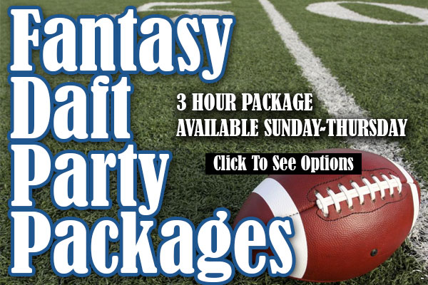 Football on 50 yard line - Fantasy Draft Party Pacakges